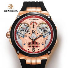 STARKING Watch Men 50M Water Resistant Swimming Watches Cool Swiss Design Double Mechanical Movt Skeleton Skull Watches Relogio