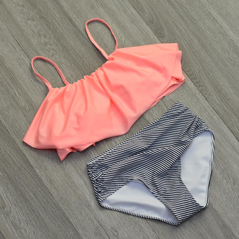 High Waist Swimwear Women New 2017 Ruffle Vintage Bikinis Swimsuit Bandage Striped Bottom Bathing Suits Swim Suit Biquini Female