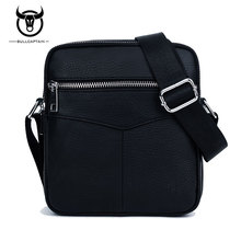 BULLCAPTAIN Fashion Genuine Leather Men Bag Small Shoulder Bags High Quality Casual Zipper Cowhide Men Messenger Bags Black