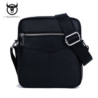 BULLCAPTAIN Fashion Genuine Leather Men Bag Small Shoulder Bags High Quality Casual Zipper Cowhide Men Messenger