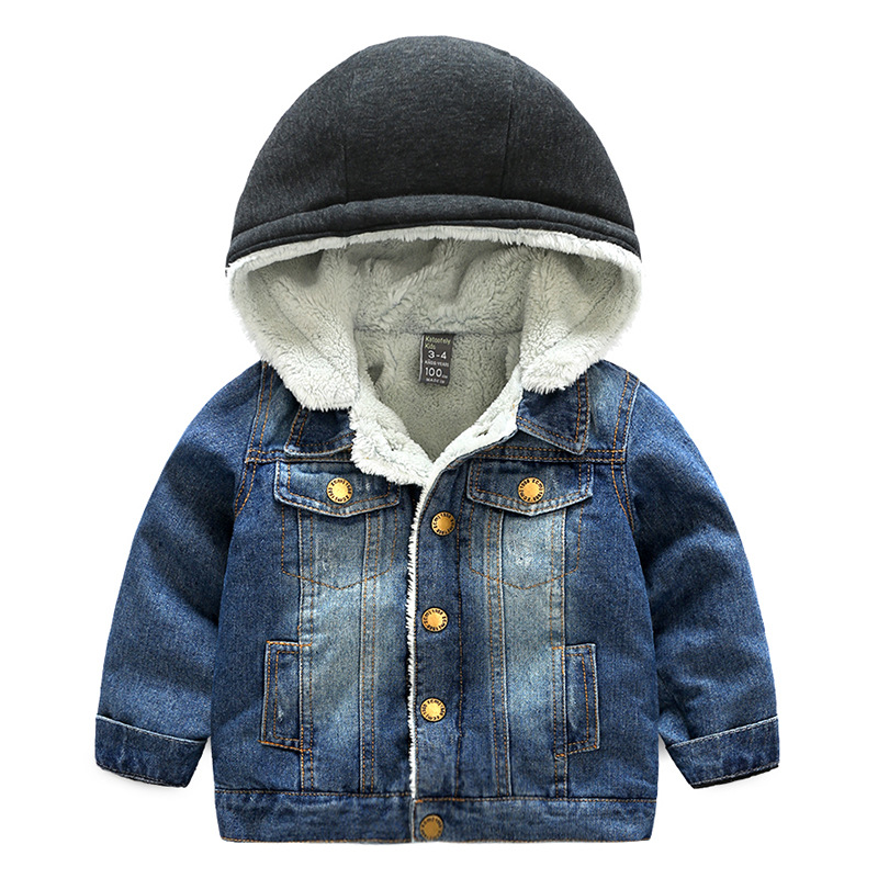 Winter Thicken Warm Denim Child Coat Windproof Children Outerwear Casual Baby Boys Girls Jackets For 3-10 Years Old 2016 winter new soft bottom solid color baby shoes for little boys and girls plus velvet warm baby toddler shoes free shipping