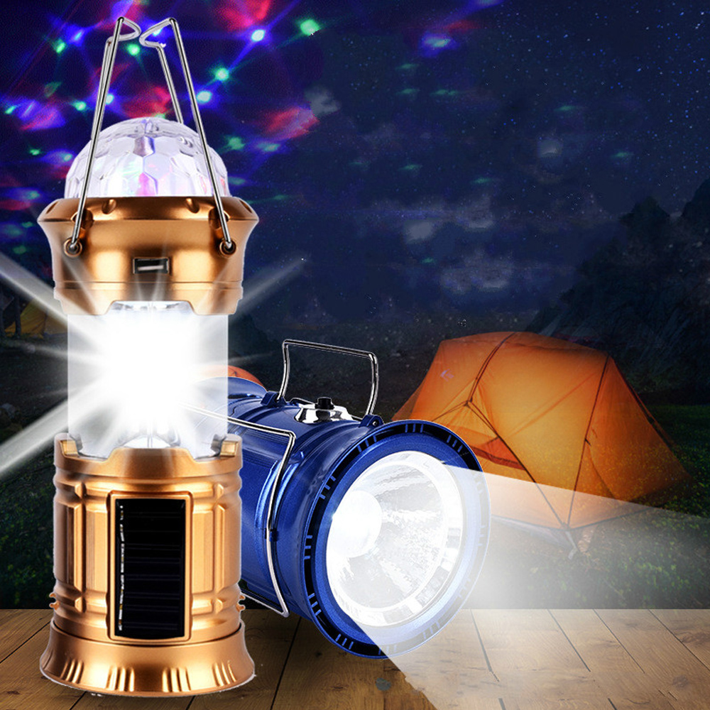 Multi-functional LED Solar Portable Lanterns Tent Light For Camping Household Emergency Lamp Small Stage DIsco RGB Night Light
