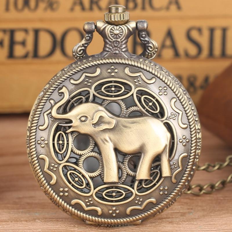 Retro Bronze Long Nose Elephant Pattern Hollow Necklace Quartz Analog Pocket Watch Fashion Pendant Chain Watches For Men Women