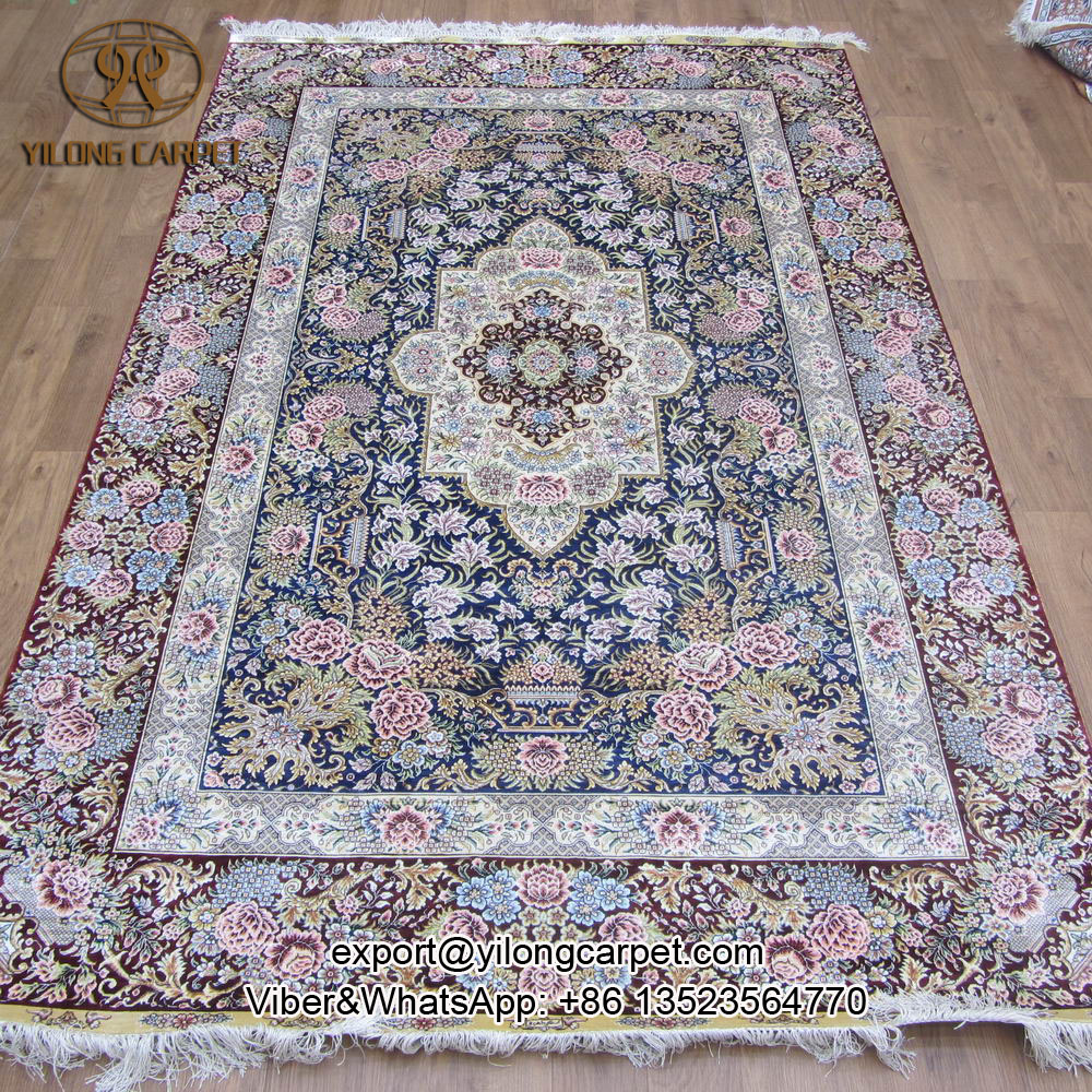 Yilong 5u0027x8u0027 Red color simple design hand knotted rugs silk persian  handmade carpet