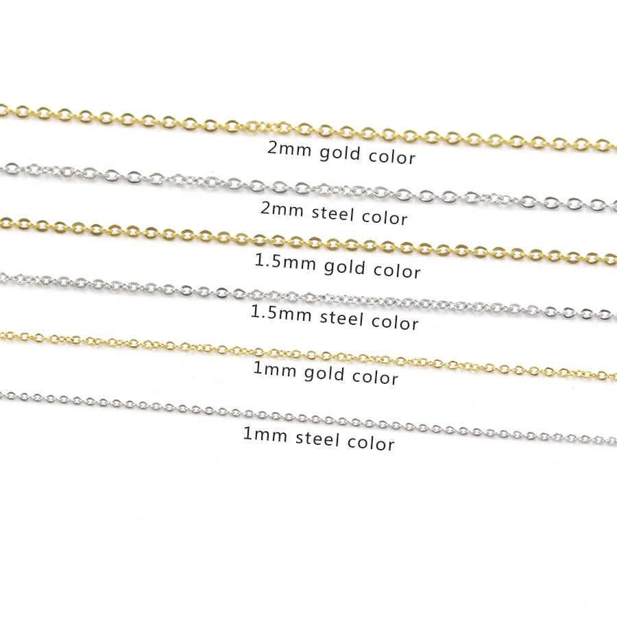 5 pçs 316l aço inoxidável 1 1.5 2mm rolo link corrente colar ouro prata tom 40 45 50 60 cm longo corrente lagosta fecho colar