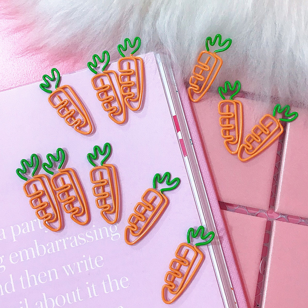 10pcs/lots  Cute Cartoon Fruit Carrot  White Radish Clips Kawaii Binder Paperclip Sticker School Office Stationery Supplies