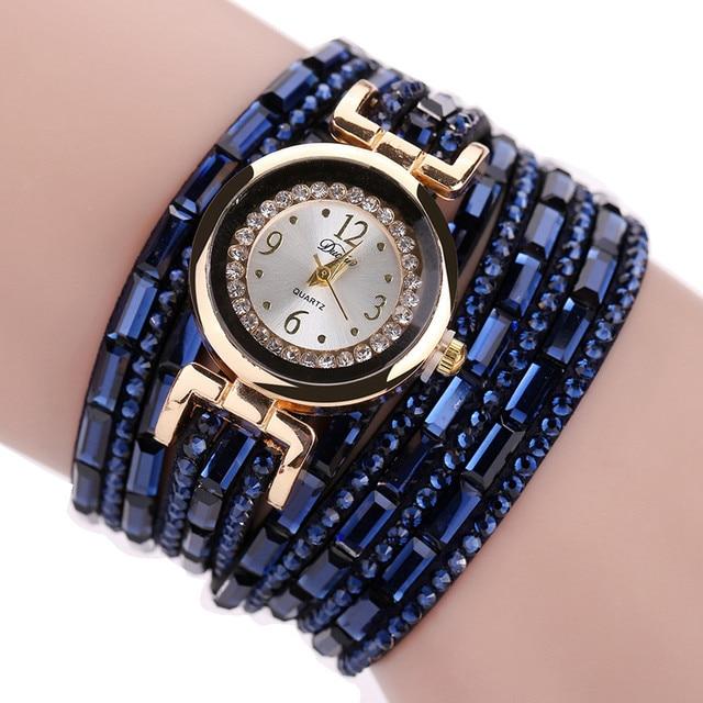 Duoya Women Luxury Crystal Women Gold Bracelet Watches New Fashion Analog Quartz
