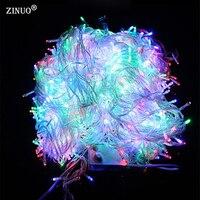 ZINUO 100 메터 600 LED 크리스마스 문자열 빛 야외 방수 220 볼트 요정 문자열 화환 9 컬러 정원 웨딩 파티