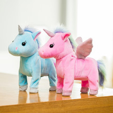New LED Light Electric Walking Unicorn Plush Toy Stuffed Animal Toy Electronic Music Unicorn Toy for Children Christmas Gifts