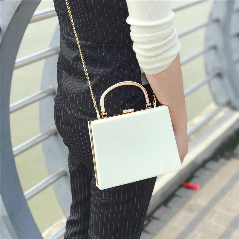 Mixtx 2020 Neue Frauen Box Handtasche Glänzend Messenger bag Lady Partei Kupplung Bankett Tasche Mode Metall griff Totes Kette Crossbody
