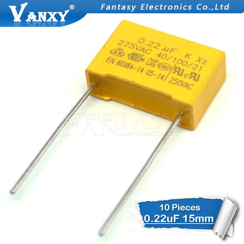 10pcs 220nF Capacitor X2 Capacitor 275VAC 220NF Pitch 15mm X2 Polypropylene Film Capacitor 0.22uF