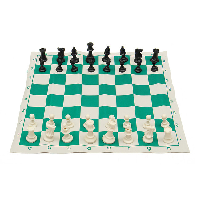 New Arrival Outdoor Traveling Portable Traditional Chessboard Tournament Club Chess Set With Green Roll Up Board Plastic Bag
