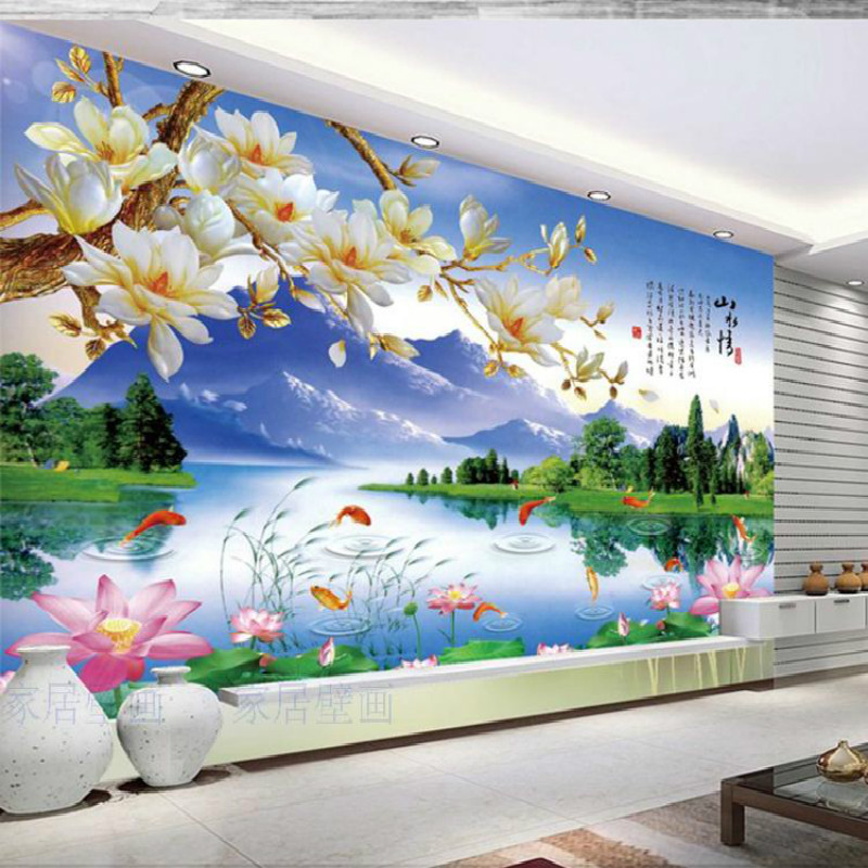 A large mural custom wallpaper the living room bedroom wall covering Chinese TV sofa backdrop wallpaper beautiful magnolia free shipping marshall dimensions art wallpaper nonwoven large mural bedroom living room tv backdrop custom size