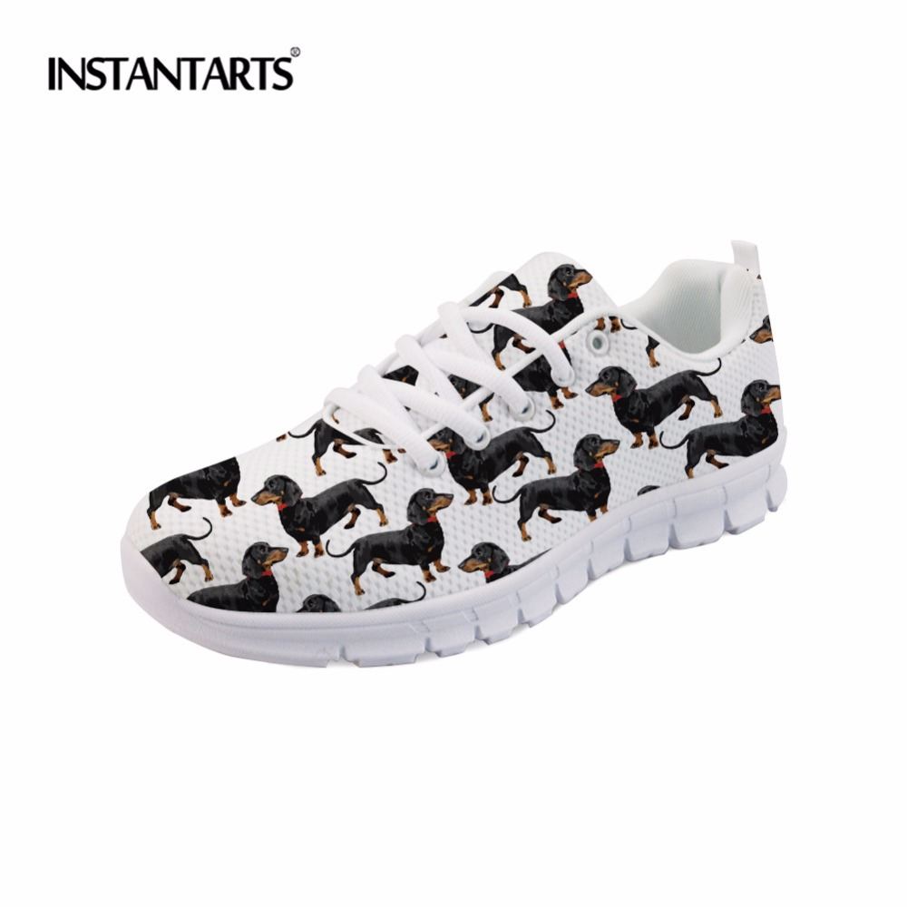 INSTANTARTS Fashion Woman's Summer Flats Shoes Cute Dog Dachshund Print Students Sneakers White/Yellow Footwear for Teen Girls instantarts cute glasses cat kitty print women flats shoes fashion comfortable mesh shoes casual spring sneakers for teens girls