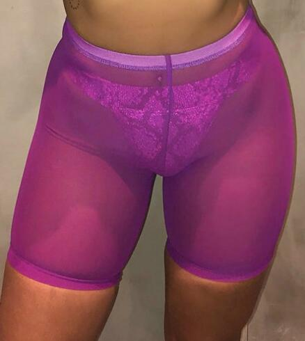 High Waist  See Through Neon Mesh Swim Shorts Cover Up 13