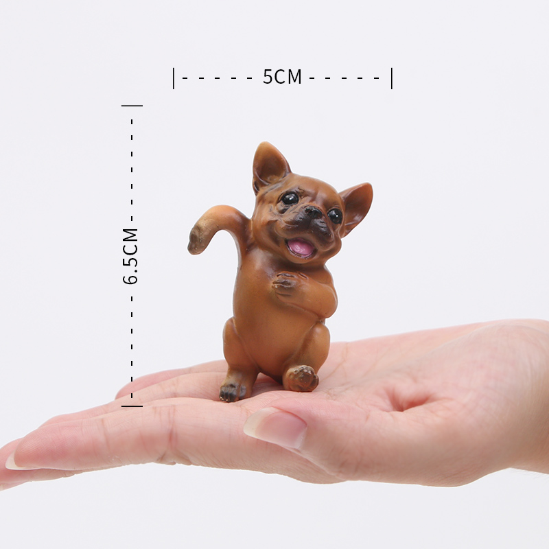 One piece funny doggy Mini Figure bulldog poodle garden succulent plant cake car office cup decoration party supply kids gifts