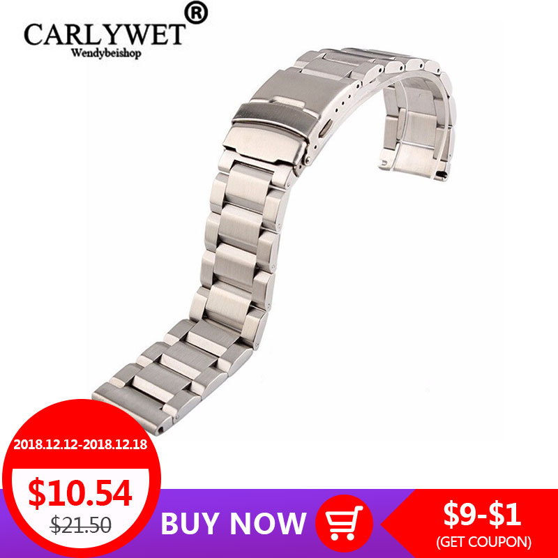 18 20 22 24mm New Man Silver Brushed Solid Stainless Steel Bracelet Watch Band Strap Belt Double Push Clasp relogio masculino