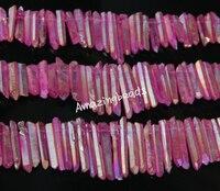 Approx 76pcs Strand Natural Raw Purple Crystal Quartz Point Pendants Rock Gem Stone Top Drilled Stick