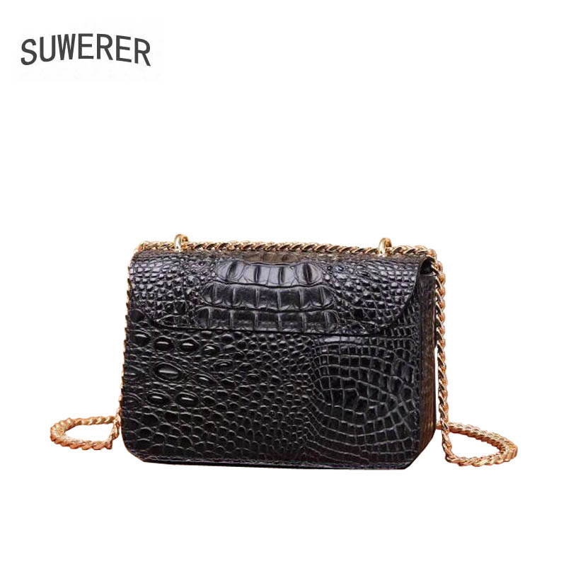 SUWERER 2019 new Women Genuine Leather bags for women fashion luxury handbags women bags designer tote women leather handbags in Top Handle Bags from Luggage Bags