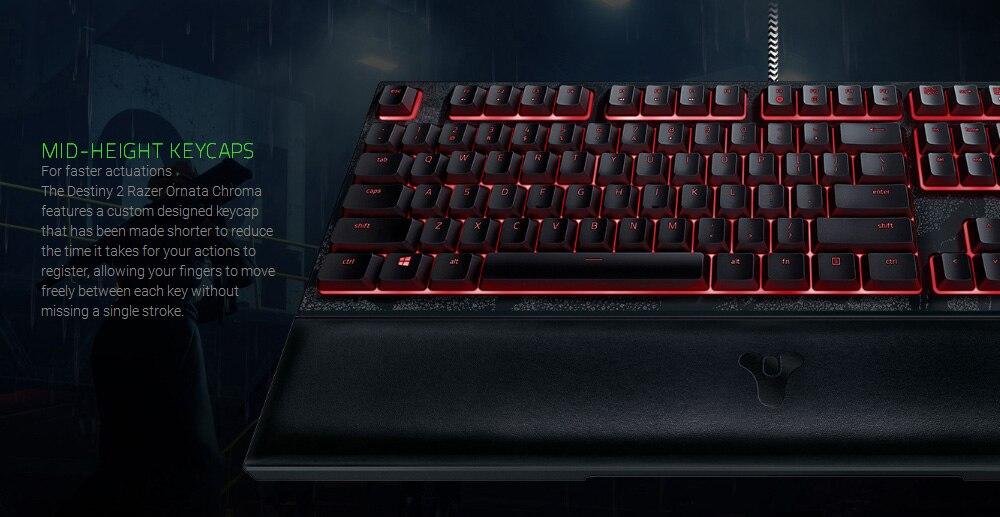 New Razer Ornata Chroma Destiny 2 Edition Revolutionary Mecha-Membrane RGB  Ergonomic Gaming Keyboard Mid-Height Keycaps Rest