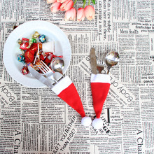Christmas Decor Pretty Hat 24pcs/lot Pocket Pattern Xmas Sock  Fork  Bag Tablewar Bags Cutlery Dining Table Decorations Candy