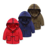 Imported Baby Clothes Toddler Kids Baby Boys Autumn Winter Horn Buttons Hooded Coat Cloak Jacket Thick