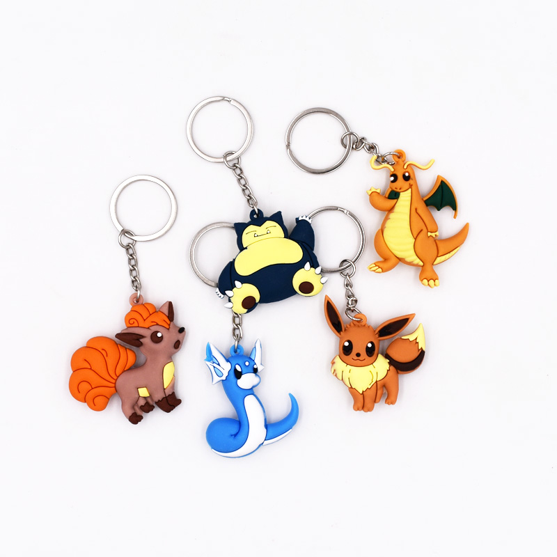 5Style Hot Sales 4-6cm Keychain Pikachu Dratini Eevee Snorlax Vulpix Dragonite Pendant Cartoon Figures PVC  Keyrings
