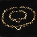 stainless steel heart jewelry set circle link chain gold plated for women classic banquet bracelet necklace sets WJS087