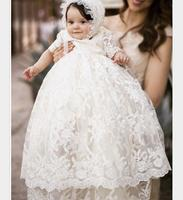 Enchanting Christening Dress Baby Girl Baptism Gown Lace Applique Ivory 2017 High Quality Custom Outfit