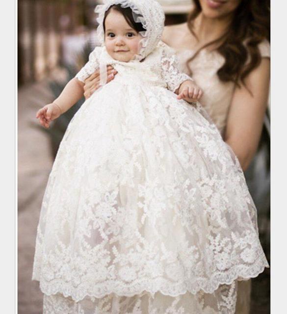 Enchanting Taufe Kleid Baby Mädchen Taufe Kleid Spitze Applique Ivory 2017 Hochwertige Outfit Halbarm Hw1072