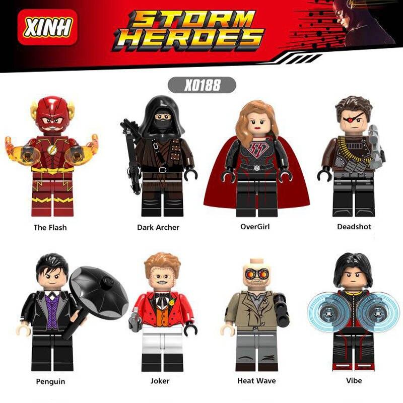 X0188 Super Heroes OverGirl Deadshot Penguin Joker Heat Wave Vibe Bricks Building Blocks Toys Gifts For Children стоимость