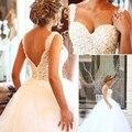 Saudi Arabia Ball Gown Wedding Dresses Sweetheart V Back Pearls and Crystal Tulle Bride Dresses  vestidos de novia