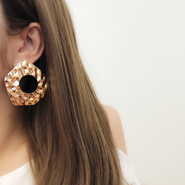 AOMU 2018 New Vintage Exaggerate Big Circle Dangle Earrings Matte Gold Drop Earrings For Women Long.jpg 640x640 - AOMU 2018 New Vintage Exaggerate Big Circle Dangle Earrings Matte Gold Drop Earrings For Women Long Earring Party Jewelry Brinco