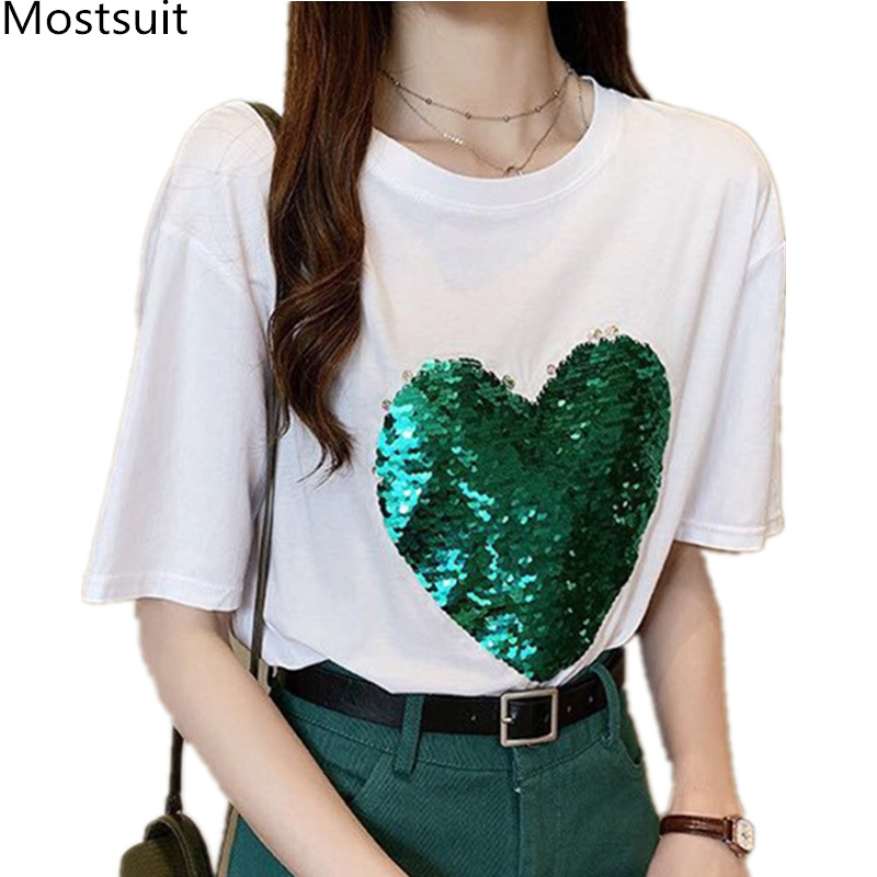 M-4xl Summer Heart Sequins T-shirts Women Plus Size Short Sleeve O-neck Tees Tops Casual Fashion Loose Tshirts Black White 2019