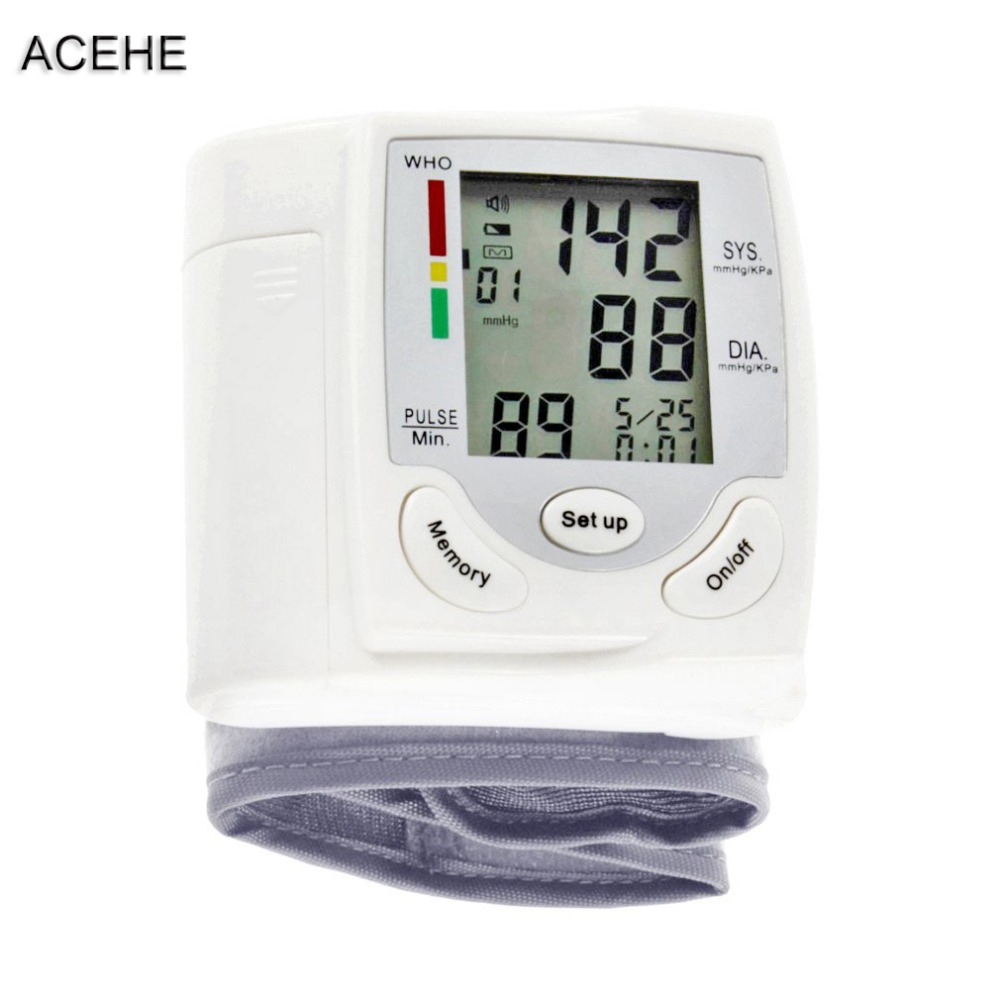 ACEHE Automatic Digital LCD Display Wrist Blood Pressure Monitor Tonometer Heart Beat Rate Pulse Meter Measure For Health Care in Pressure Gauges from Tools