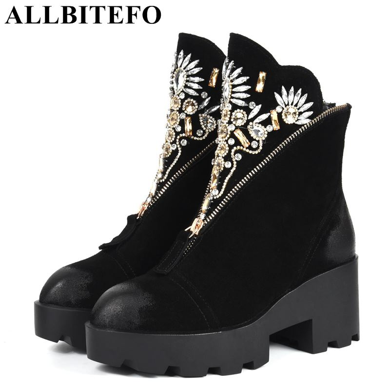 ALLBITEFO genuine leather thick heel women boots Rhinestone brand high heels ankle boots women winter martin boots girls shoes набор посуды frybest berry 10