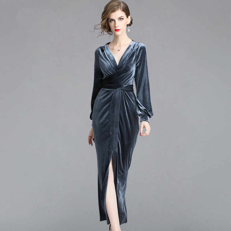 1055d4aa3730 MSSNNG 2019 Autumn Women Velvet Sheath Bodycon Pencil Dress Fashion Vintage  Party Slim Sexy Vestidos Vintage