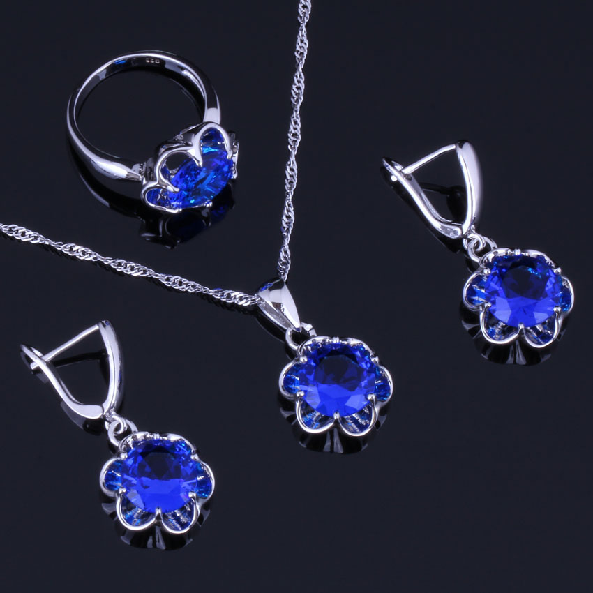 Brilliant Round Blue Cubic Zirconia 925 Sterling Silver Jewelry Sets For Women Earrings Pendant Chain Ring V0981 in Jewelry Sets from Jewelry Accessories