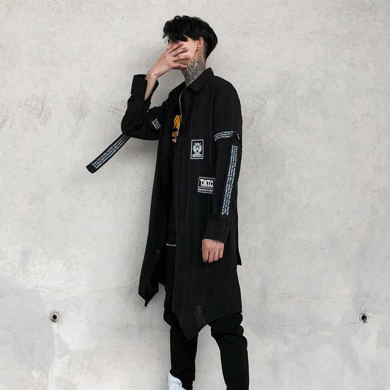 d02d80809ee Мужская Высокая уличная мода хип-хоп панк с длинным рукавом лента рубашки  мужские тонкие клетчатые
