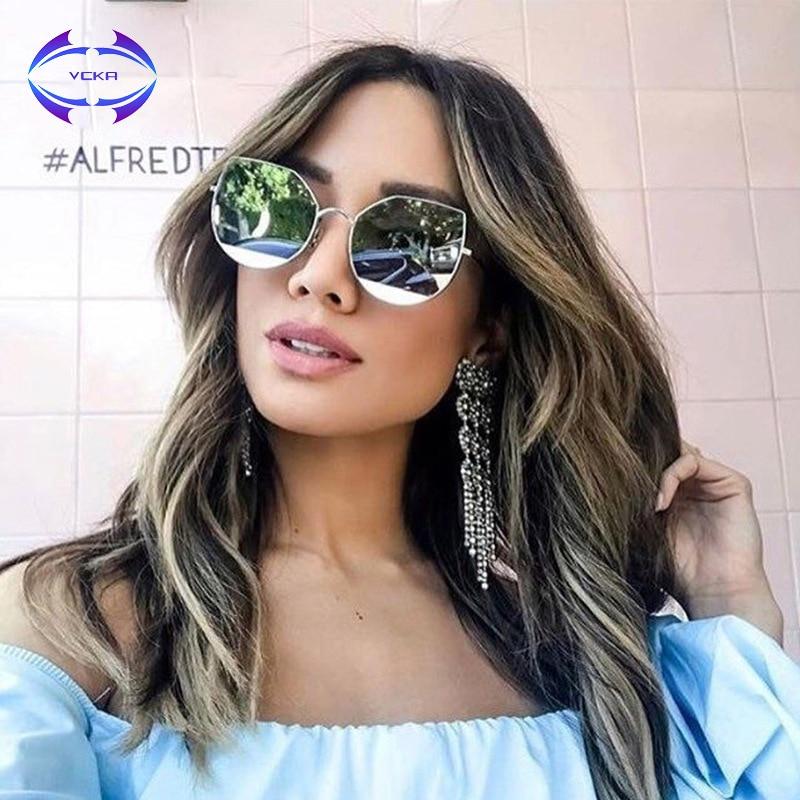 494160686b58f VCKA Pink Sunglasses Women Cat Eye Mirror Lens Sun Glasses UV400 High  Quality Metal Frame Oculos