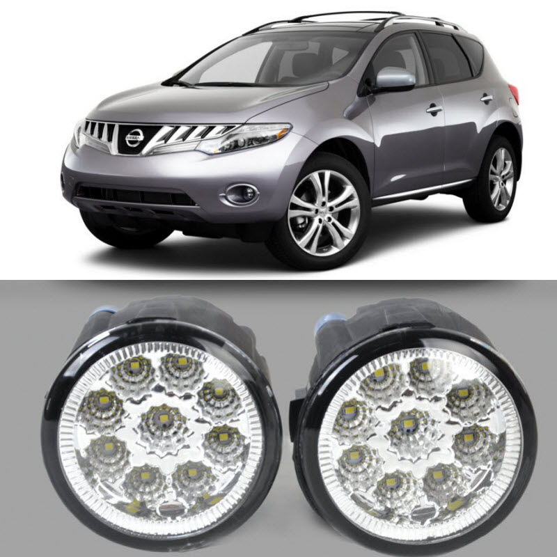 Car Styling For Nissan Murano 2009 2014 9 Pieces Leds Fog Lights H11 H8 12V 55W