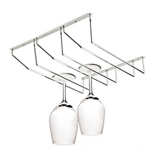 1PC New Stainless Steel Wine Glass Holder Stemware Rack Under Cabinet Storage Organizer 3 Row for Household J2074