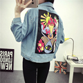 2016 Autumn Fashion Cartoon Pringting Patch Embroidery Denim Jacket Women Light Blue Casual Jacket and Coat 1689