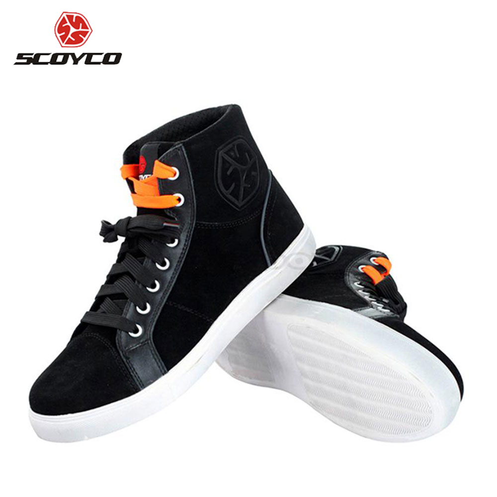 SCOYCO Motorcycle Boots Fashion Casual Wear Motorbike Riding Shoes Leather Street Racing Boots Breathable Biker Boots MBT005 new scoyco moto racing leather boots motorcycle boots shoes motorbike riding sport road speed professional botas