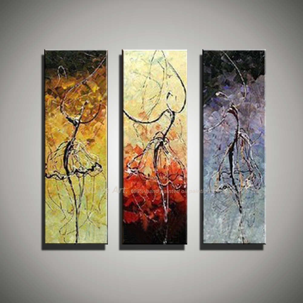 3 Piece Wall Art Paintings Ballerina Ballet Dancers Modern Abstract Oil On Canvas Pictures For Living Room In Painting Calligraphy From