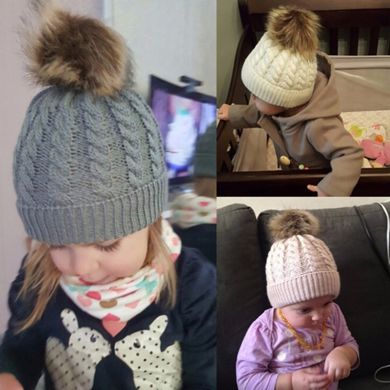 Free delivery Newborn Baby Winter Warmer Kids Pompom Ball Skull Cap Cable Knitted   Beanies   Hat