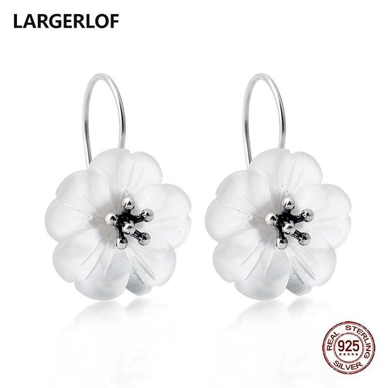 LARGERLOF 925 Sterling Drop Earrings Female Silver 925 Jewelry Crystal Earrings For Women ED47009 цена 2017
