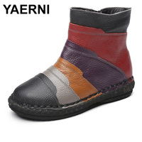 YAERNI Hand Made Winter Short Boots 2018 Mixed Colors British Stylish Woman Ankle Boots Genuine Leather Lady Martin Shoes E634
