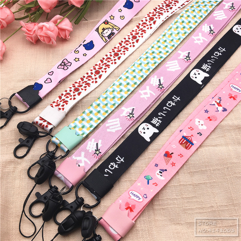 New Lot 10pcs Japanese anime girl Lanyard Mobile Phone ID Card KeyChain Holder