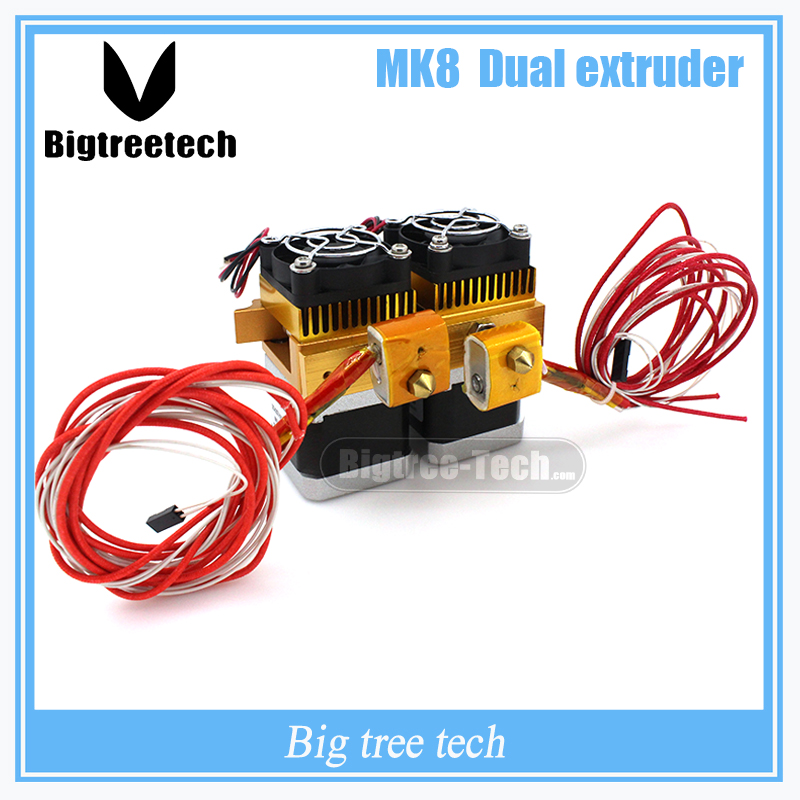 Newest Mk8 12v Dual Head Nozzle Extruder Double Print Head For Makerbot 3D Printer With 1